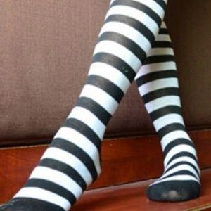 NEW! Black & White Striped Knee/Over Socks